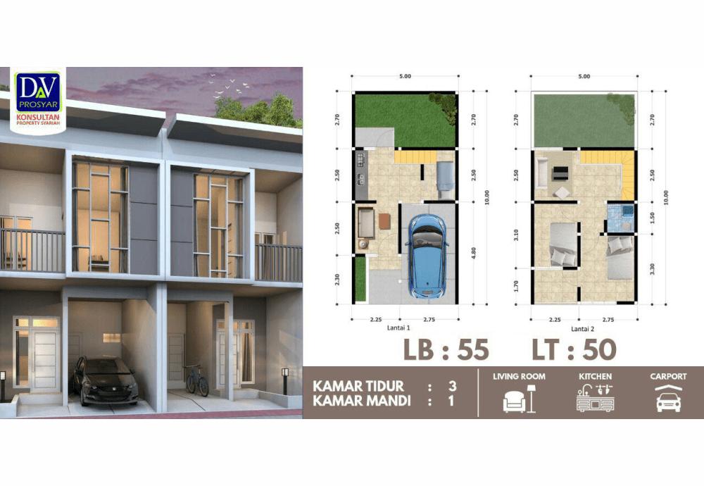 Properti Syariah- Rumah 2 Lantai Sudah Tersedia-desain rumah alihsan residence 12