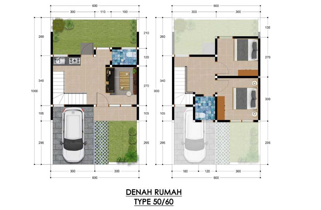 rumah syariah tangerang - denah type 50